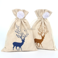 Cotton fabric gift bag draw string linen natural promotional Christmas deer Logo printing