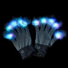 2018 New Product Led Finger Light Up Party Gloves With Fuzzy Balls On Fingertips