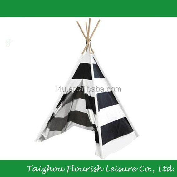 Black and white stripe children camping Outdoor Playground teepee tent