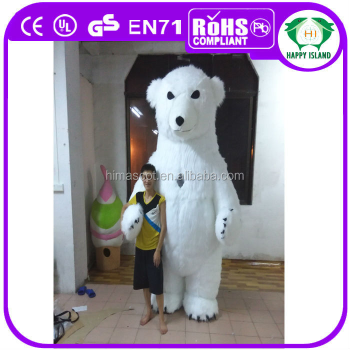 HI CE 2014 Hot selling 3m high large inflatable polar bear mascot costume for adult