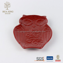 Harvest owl ceramic cookie candy and sanck tray
