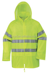 Hi-vis Polyester Safety Rainwear with Reflective Tapes