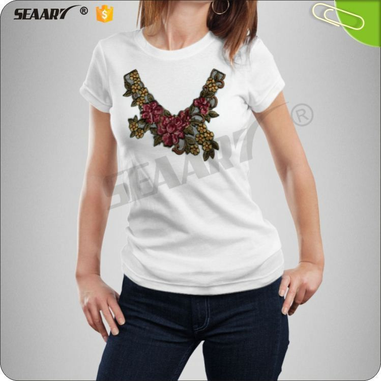 Fancy Flowers Embroidery Neck Designs Collar For Apparel