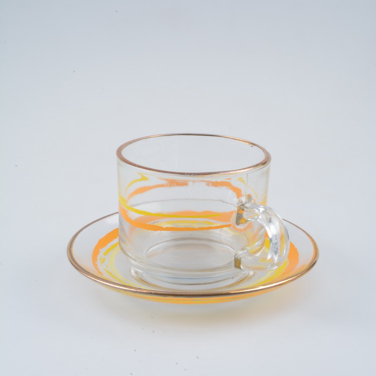 Wholesale personalized photo glass tea cup and saucer