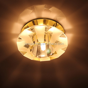 China factory wholesales round fan patterned face led crystal downlight with 100mm glass mirror base