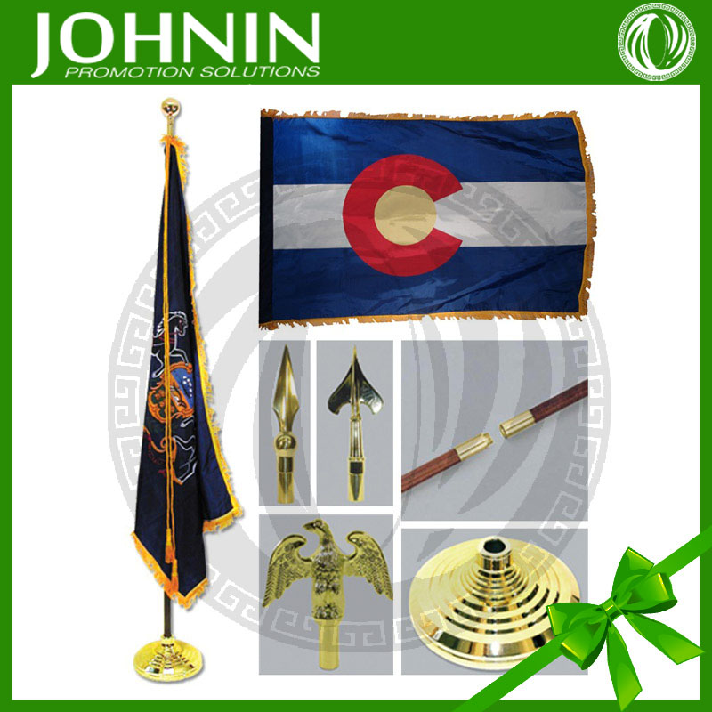 top quality satin fabric 30*45cm office small metal flag