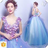 2016 latest OEM Colorful Appliqued wedding dress bride wedding dress