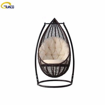 Good quality patio garden leisure pe rattan hanging swing chair