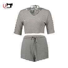 Cheap V-neck Striped Full Cotton Ladies Pants Short Sleeve Summer Suit with Belt for Party