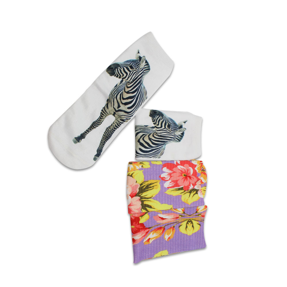 High elastic colorful dye sublimation printing crew socks for adult