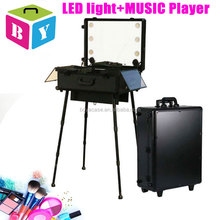professional lighted cosmetic makeup case station with LED lights MP3 speakers music player sockets lighted trolley makeup case