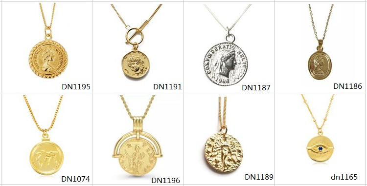 Wholesale gold plated dainty jewelry silver coin medallion necklace