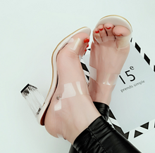 X85670A fashion summer transparent high heels ladies sexy nude plastic sandals shoes