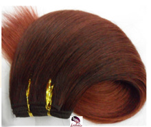 Double wefts unprocessed straight dark auburn color human hair weaving, Natural wave hair,cheap toupee #33 Dark Auburn