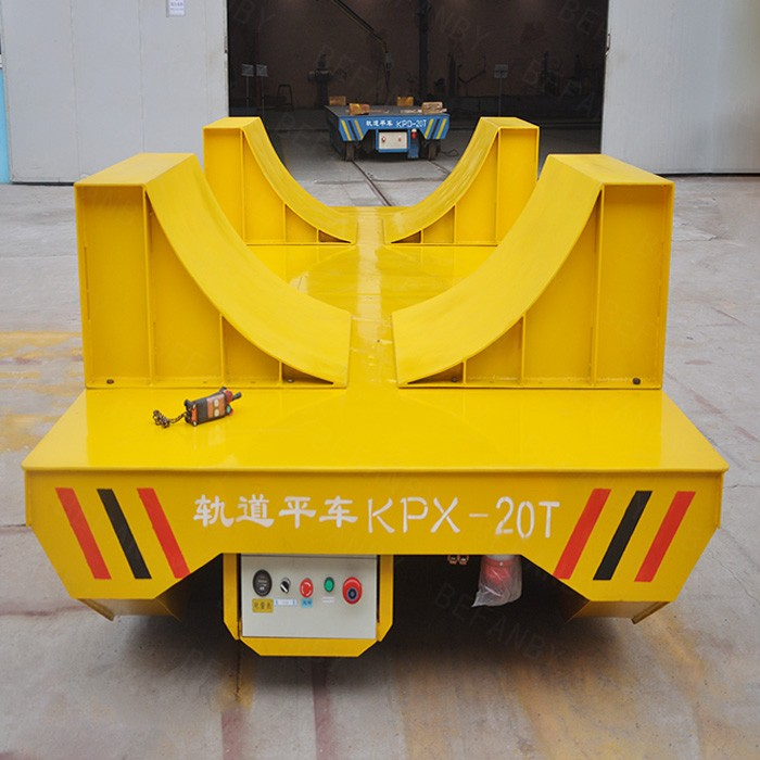Heavy load material handling die transfer vehicle for production line transport on rails