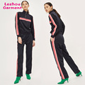 womens stripes panel tracksuit,half zip top,regular fit joggers