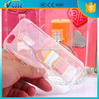 VCASE Newest popular 3D transparent PC liquid moving phone case for iphone 6