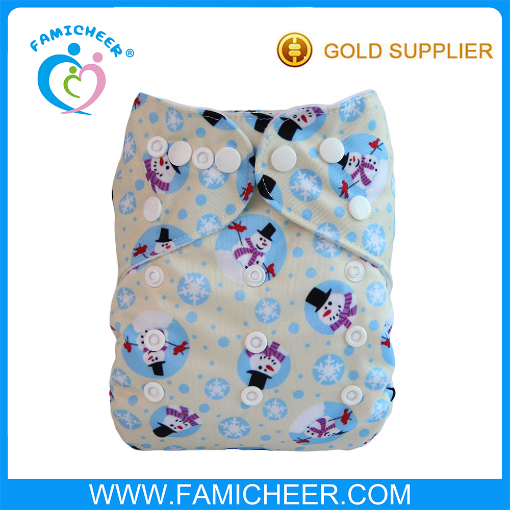 New Christmas Pattern Washable Baby Cloth Diapers Wholesale Manufacture