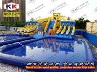 Outdoor slide parties Durable water slide , spongebob inflatable water slide for adult and kids
