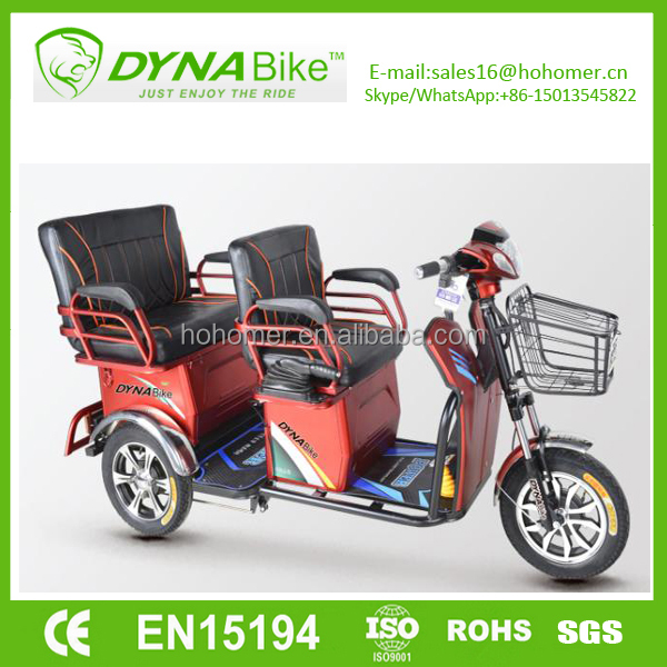 Dynabike electric tricycle for passenger 2 seats