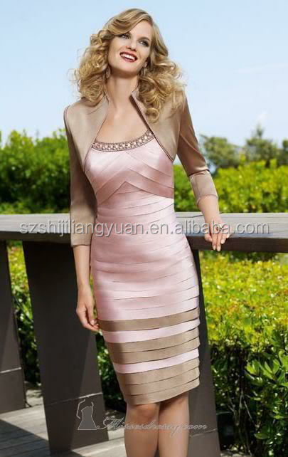 SJ1541 pink knee length with free jacket 2 pieces mother of the bride dress