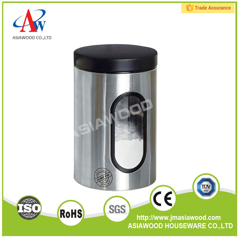 Kitchen stainless steel tea coffee sugar storage canister with window