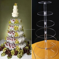 6 tier acrylic wedding cake stand clear round Cupcake Stand plexiglass cake display rack assembled