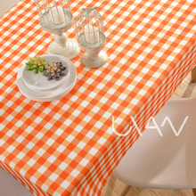 Color Tablecloth Orange Squares Printed Tablecloth