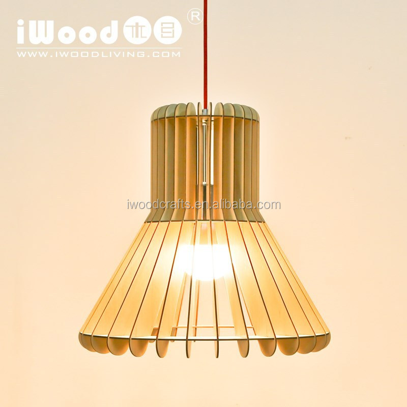 wood material modern hall ceiling lamp