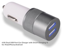 4.8A Dual USB Port Car Charger with Smart Charging IC for iPad/iPhone/Android,car charger