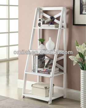 White wall bookcase wooden bookshelf design for living room furniture