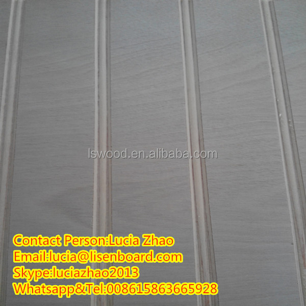 V grooved plywood for wall panel , furniture standard pine plywood U groove
