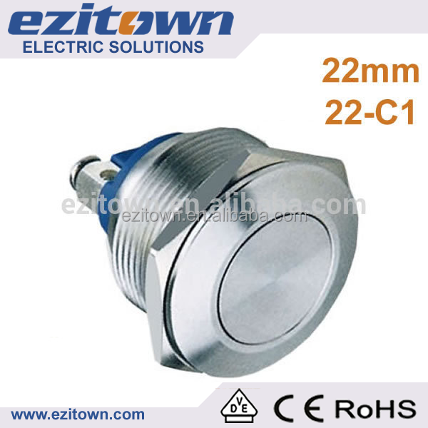 22mm 1no flat head 5A IP65 water proof auto reset momentary elevator button, push button switch