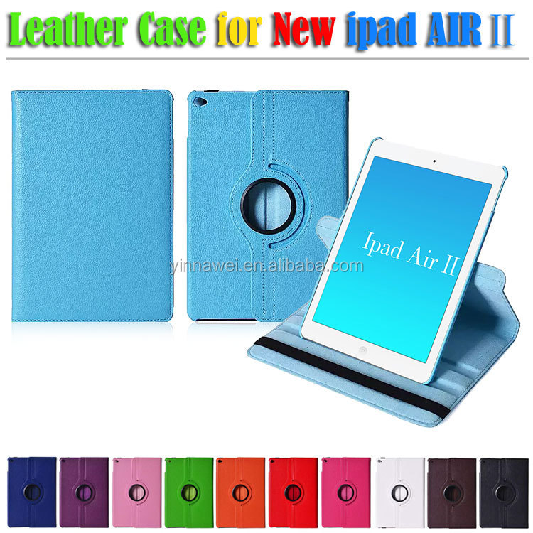 "New coming 9.7"" Rotatory Litchi PU Leather Case For ipad 6 ipad air 2 rotate leather case for ipad air 2 with stand"