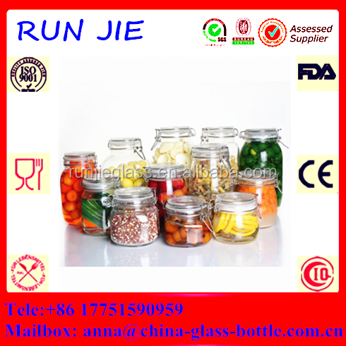 High quality glass storage jar/hermetic food glass jar wholesale/glass jar with sealing lid
