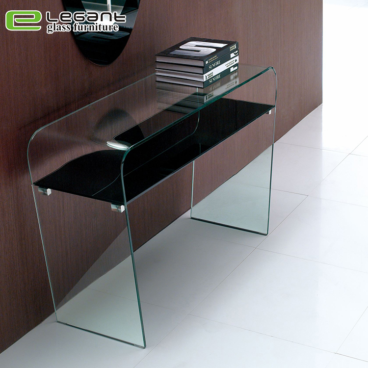 Curved Glass Console Table with Shelf