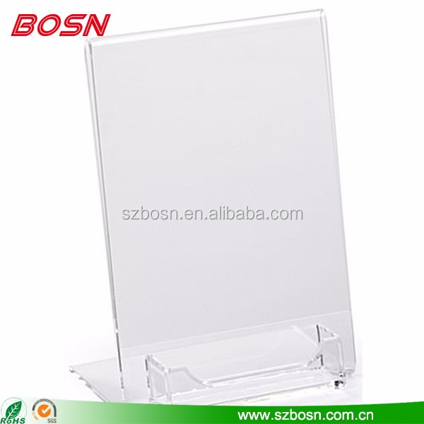 Top quality slant back acrylic tabletop tent sign holder with card pocket