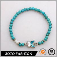 Fashion Simple Turquoise Bead Bracelet Jewelry Enamel Butterfly Shaped Alloy Charm Stretched Bracelet