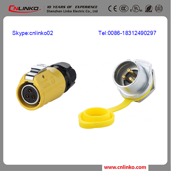 alibaba china 3 pins electric connector power plug and socket ip65 waterproof power connector