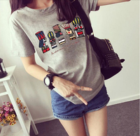 Lady summer cartoon printed short sleeve t loose and comfortable t shirts