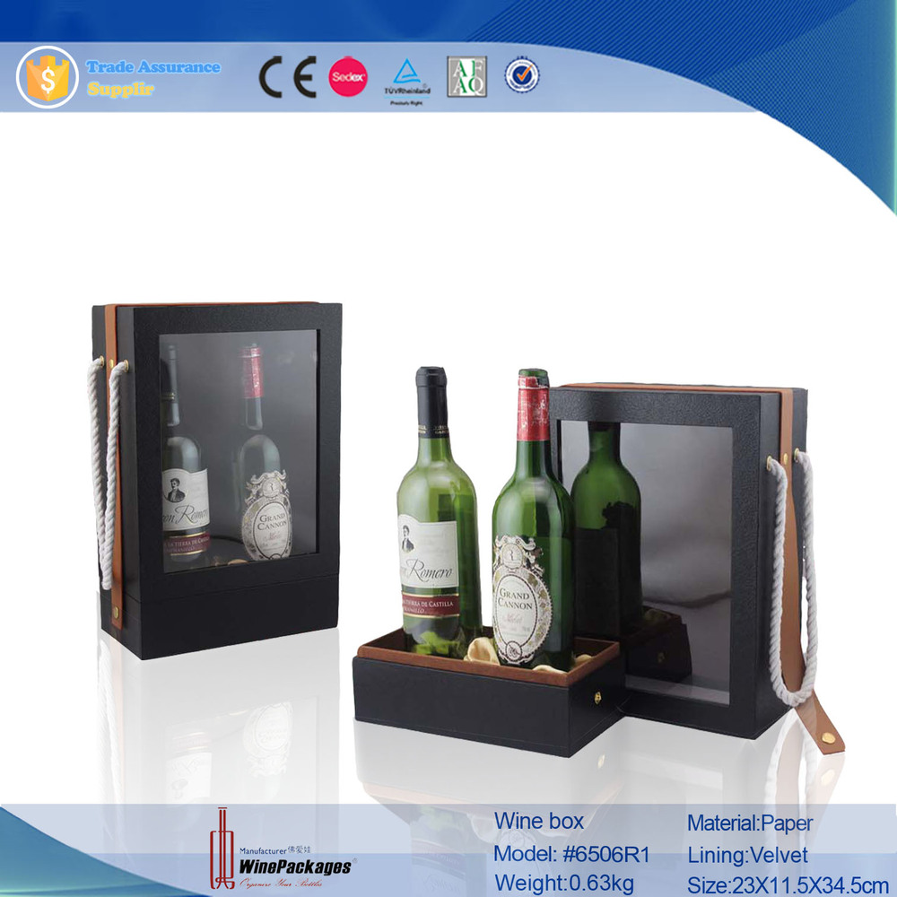 Dual Bottle Leather Wine Carrier With Clear PVC