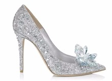 Princess Crystal High Heel Shoes Bridal Wedding Shoes with Rhinestones Wedding Party Pump