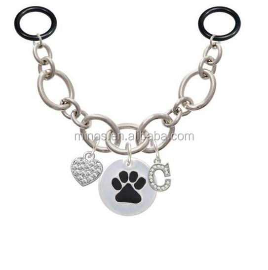 Stainless Steel Black Paw On White Disc ID Initial Charm Necklace For Stethoscope, Disc ID Initial Charm