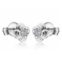 Four-Leaf Clover White Gold Earring 18K Gold Diamon Ear Stud