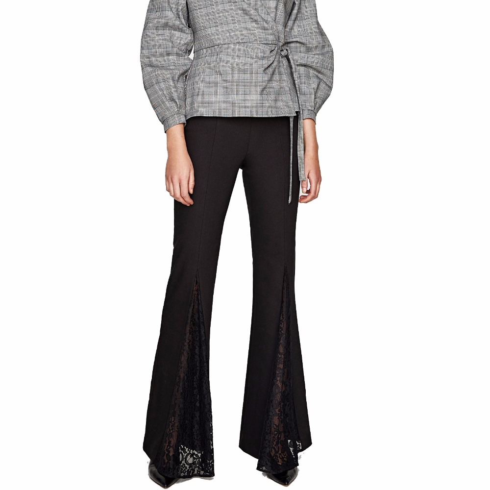 Women Pants Bell Bottom Flared Trousers with Lace Trim along the Side Vents Cutting