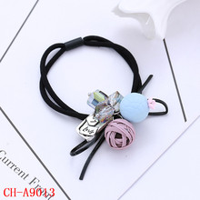 Womens Black round elastic cord gem charms hair band hair accessories with two balls