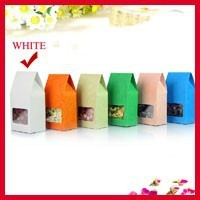 High Quality 8cm*15.5cm+5cm Bottom *140Mciron White Stand Up Kraft Paper Box With Window Food Packaging Bags