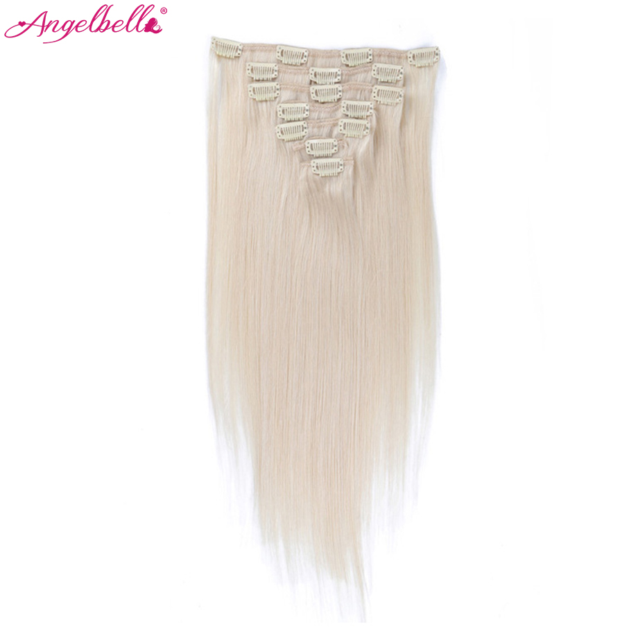 Angelbella Hair Extensions Fusion 100G/7 Pieces Wavy Black Remy Human Hair Extensions Clip In