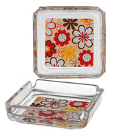 95MM Dia square glass ashtray with beautiful flower decal printing