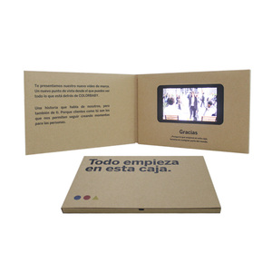 Design 5 inch A5 business greeting wedding LCD screen video player brochure in print a paper card